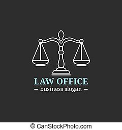 illustration., bureau, avocat, vecteur, justice, logo, badge., vendange, étiquette, avocat, droit & loi, juridique, firme, balances
