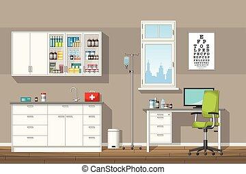 illustration, bureau, docteur