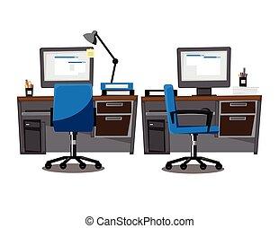 illustration, bureau, informatique, lieu travail, (office), dessin animé