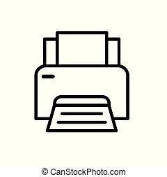 illustration, bureau, vecteur, icon-, imprimante