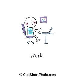 illustration., bureau, worker.