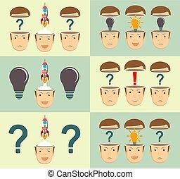 illustration., business, concept., haut, idée, début, vecteur