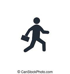 illustration, business, design., homme affaires, vecteur, icon., plat