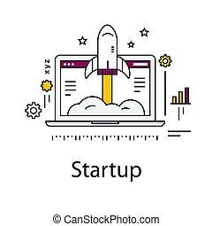 illustration., business, fusée, démarrage, laptop., vecteur, ligne, icon.