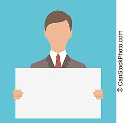 Business Man Holding Big Blank Paper