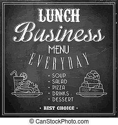 illustration., business, menu, déjeuner, vecteur, chalkboard.