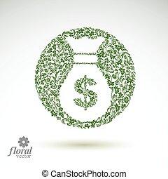 illustration., business, sac, argent, économie, stylisé, banque, thème, vecteur, floral, icône, icon., conceptuel