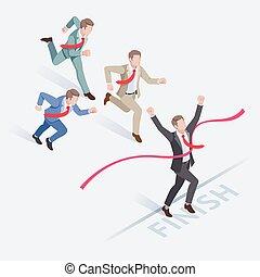 illustration., business, vecteur, gens, courant, concepts, groupe, ligne., isométrique, success., finition, homme affaires