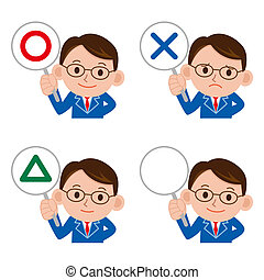businessman incorrect answer - Illustration businessman...