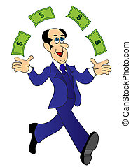 businessman runs and throws money - illustration businessman...