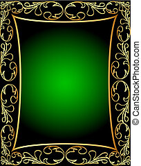by green frame with vegetable gold(en) pattern