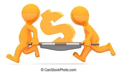 illustration., cégtábla., dollár, pénznem, szállítás, gazdasági, fogalmi, medics