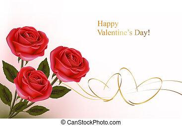 Illustration, cadeau, fond, petite amie,  roses, vecteur, arc, jour, rouges