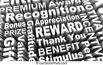 illustration, cadeau, récompense, appréciation, mots, 3d, encouragement, reconnaissance