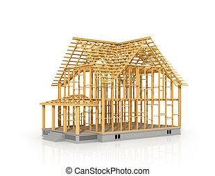 illustration., cadre maison, isolé, construction, sous, 3d
