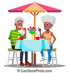 illustration, café, couple, isolé, personnes agées, ensemble, vector., table, boire, café, heureux