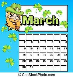 calendar for March St. Patrick's Day shamrock hat