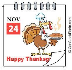 Illustration-Calendar Page Turkey Chef With Pie