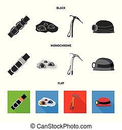 illustration., campeggiare, collezione, alpinismo, vettore, disegno, picco, icon., casato