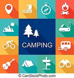 illustration., campeggio, icone, viaggiare, vettore, turismo, concept.