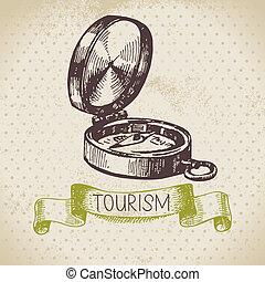 illustration, camping, croquis, vendange, arrière-plan., randonnée, main, dessiné, tourisme