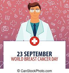 illustration., cancer, 23, monde médical, september., day., holiday., vecteur, poitrine, médecine, mondiale