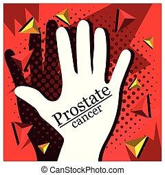 illustration., cancer, arrêt, main, vecteur, prostate, icône