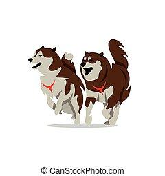 illustration., cane, due, vettore, rauco, cartone animato