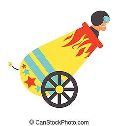 illustration., cannone, circo, vettore, umano, vendemmia, icon., palla cannone