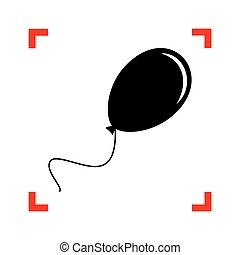 illustration., cantos, balloon, foco, sinal, pretas, branca, ícone