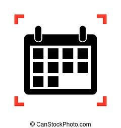 illustration., cantos, foco, sinal, pretas, calendário, branca, ícone