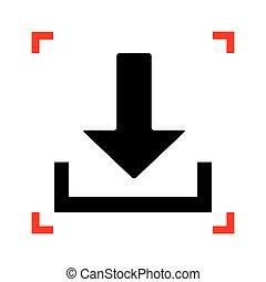 illustration., cantos, foco, sinal, pretas, download, branca, ícone