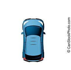 Car view from above, Vehicle Isolated on White Background
