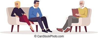 illustration., caractère, counseling., mariage, conflict., rgb, psychologue, marital, isolé, appointment., vecteur, dessin animé, couleur, relation, couple, problems., séance, semi, plat, psychothérapie, blanc