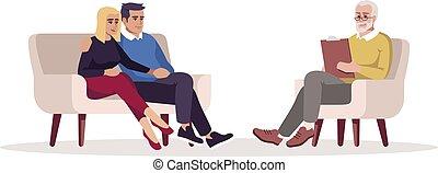 illustration., caractère, counseling., mariage, rgb, psychologue, parler, isolé, appointment., vecteur, dessin animé, couleur, relation, problems., couple, therapy., séance, semi, plat, psychothérapie, blanc