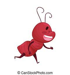 illustration, caractère, fond, dessin animé, fourmi, courant, vecteur, blanc, isolé