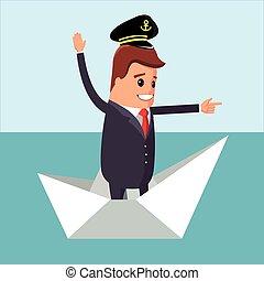 illustration., caractère, papier, directeur, vecteur, boat.