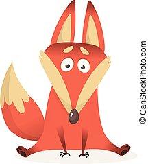 illustration, caractère, renard, isolé, vecteur, fond, blanc, dessin animé, rouges