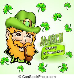 illustration card for St. Patrick's Day and congratulation