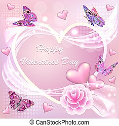 Illustration card Happy Valentine's Day with a flower and butterflies