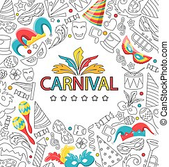 Carnival Celebration Card with Hand Drawing Icon Style