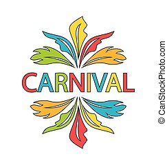 Carnival Logo Template with Colorful Feathers