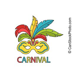 Carnival Mask with Colorful Feathers Isolated