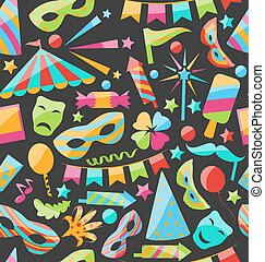 Carnival Seamless Texture with Colorful Cirsus Objects