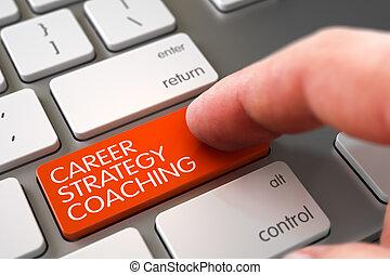 illustration., carrière, keypad., strategie, coachend, vinger, drukken, hand, 3d