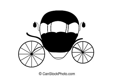 illustration., carriage., fairytale, cinderela, vetorial, pretas, branca