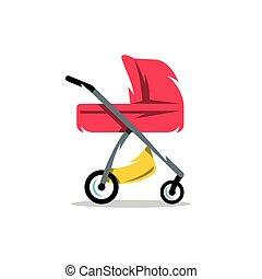 illustration., carruagem, vetorial, bebê, pram, caricatura