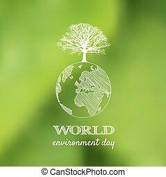 illustration., cartão, cartaz, meio ambiente, experiência., vetorial, verde, borrão, mundo, dia