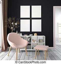 illustration., cartaz, modernos, cima, escandinavo, interior, style., natal, escarneça, 3d