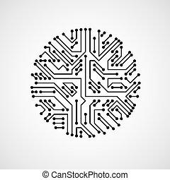 illustration., carte mère, cybernétique, élément, vecteur, noir, planche, circuit, blanc, plan, texture., futuriste, circulaire